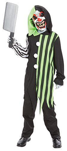 Child Killer Halloween Costume (UHC Boy's Cleaver the Clown Outfit Horror Theme Fancy Dress Child Costume, Child L (12-14))