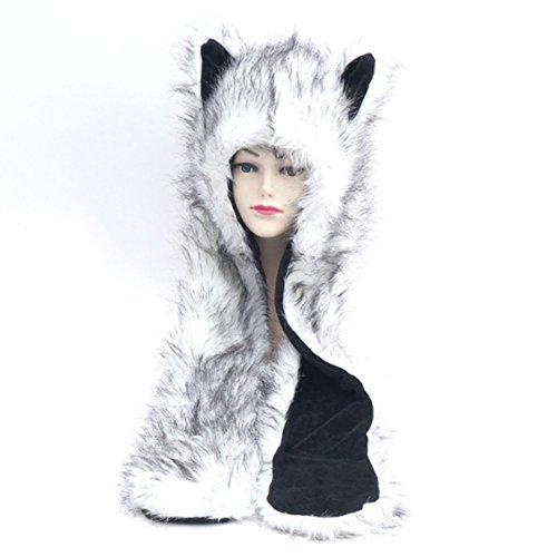Husky Anime Faux Animal Hood Hoods Spirit Paws Ears Mittens Gloves Zipper Pocket