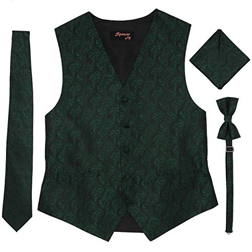 Spencer J's Men's Formal Tuxedo Suit Vest Imperial Tie Bowtie and Pocket Square 4 Peace Set Verity of Colors (Emerald/Forest, 2XL (Coat Size 52-55)) (Tuxedo Colors Vest)
