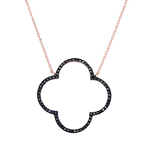 Sterling Silver Open Four Leaf Clover Black Onyx Necklace With Adjustable Length. (14K Rose Gold Plated)