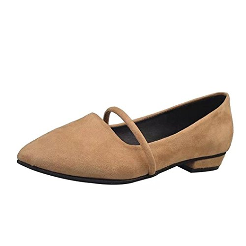 Women's Round Toe Flat Shoes Office Ladies Work Loafers Khaki - 5