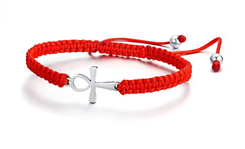 Mealguet Jewelry Adjustable Macrame Braided Lucky Red String Bracelets with Stainless Steel Ankh Cross Charm for Women Girl,Kabbalah Bracelet