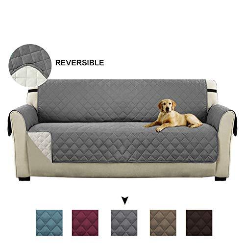 Turquoize Reversible Stay in Place Plush Furniture Sofa Protector/Checked Design Slipcovers for Dogs/Cats, No Sliding with Straps (75 inch x 110 inch, 3 Seats Sofa - Grey/Beige)