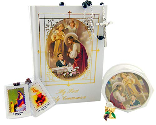 (Westman Works First Holy Communion Deluxe Set for Boys with Missal and Rosary Pin and Holy Card Gift Boxed)