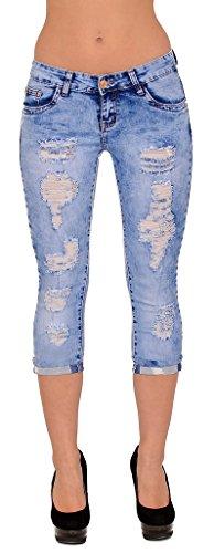 by-tex Pantacourt Femme Jean Grande Taille Capri Pantalon Jeans dechir pour Femmes J324 J324