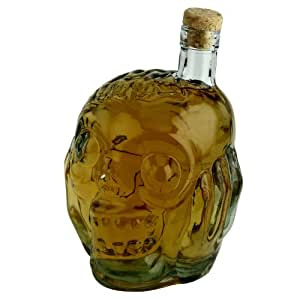 Barbuzzo Zombie Head Glass Decanter - Store Your Favorite Spirit with Style - Holds 27 Ounces