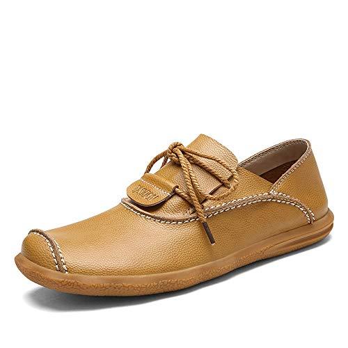 conducen Mocasines con Negro tamaño Suave Cuero para EU Zapatos 40 Hombre Genuino Cordones de Suela de Que Color Caqui cómodos Qiusa anvwTAPx