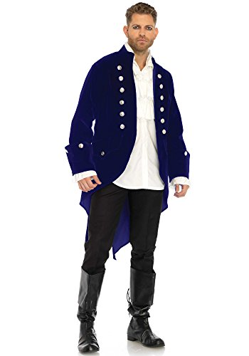 Leg Avenue Men's Blue Velvet Regency Coat, Large -