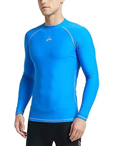 LAFROI Men's UPF 50+ Baselayer Performance Fit Shirt Compression Rash Guard Long Sleeve (Blue, LG)