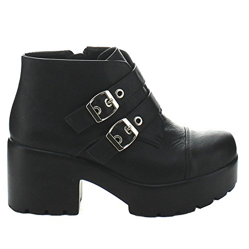 Hayden-3 Women Round Toe Buckle Strap Side Zip Platform Chunky Ankle Booties