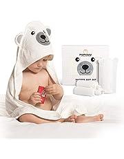 Momcozy Bambusowe ręczniki kąpielowe dla niemowląt, zestaw 5 sztuk, ręczniki niemowlęce z kapturem, 1 sztuka, myjka do kąpieli dla niemowląt, 1 sztuka, bardzo miękkie, oddychające, odpowiednie dla dziewcząt i chłopców
