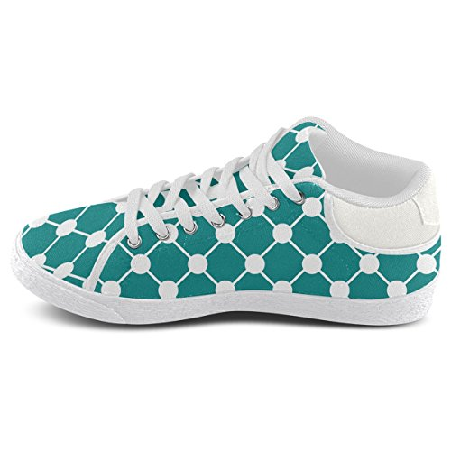 Artsadd Teal Trellis Dots Chukka Canvas Shoes For Men (Model003)