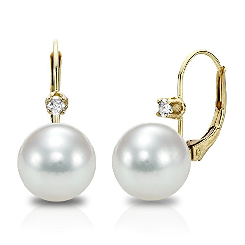 - 14K Yellow Gold White Japanese Akoya Cultured Pearl leverback 8-8.5mm Diamond Earrings Jewelry