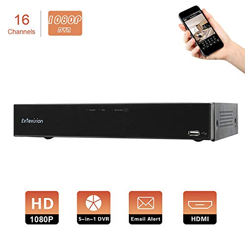 Evtevision 16CH AHD/TVI/CVI/Analog/IP 1080P 2.0MP Digital Video Recorder Realtime CCTV Security DVR Remote Access,QR Scan,Motion Detection,Alarm-Fits 1080P AHD/TVI/CVI/IP Camera,960H Camera(NO HDD)