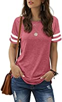 Aokosor Womens T Shirts Striped Sleeve Summer Tops Side Split Casual Tee
