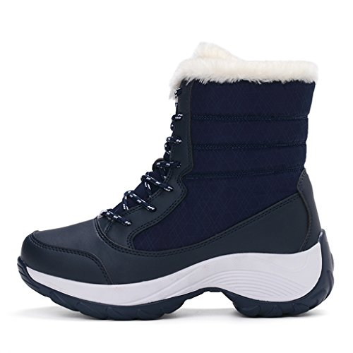 Waterproof Fur Snow Ankle Boots Blue winter Lining JACKSHIBO Women's Boots twBTHxvq