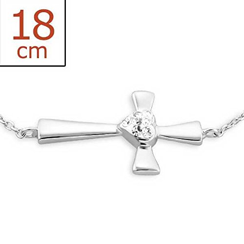 Solid Rock Jewelry 85154 Bracelet Chain Cross With Clear Crystal 925 Sterling - Mall Of Ga Stores