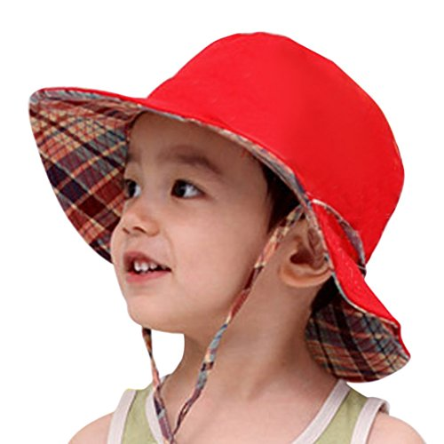 (Toddler Kids Reversible Sun Hat with Adjustable Chin Strap Cotton Wide Brim Floppy Packable Bucket Cap Hat UPF50+ Sun Protective Beach Visor Beanie Cap for Child Baby Girls Boys Age 2-8 Years)