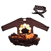 Infant Baby Girl Romper Tutu Dress Thanksgiving Turkey Brown Hairband Set