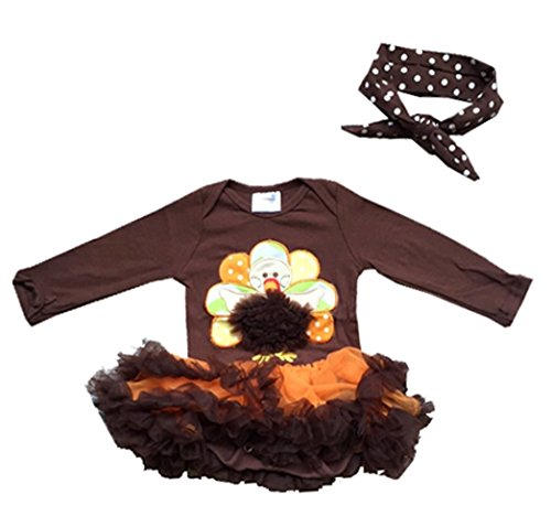 Infant Baby Girl Romper Tutu Dress Thanksgiving Turkey Brown Hairband Set]()