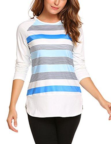 Womens Striped Shirt Long Sleeve T-Shirts Loose Colorblock Tops Baseball (Colorblock Tunic Top)