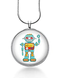 Robot Necklace- Steampunk geeky Robot,sci Fi Jewelry