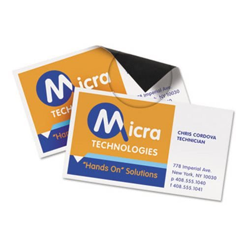 Avery 8374 Magnetic Business Cards, 2 x 3 1/2, White, 10/Sheet, - Cards Magnetic Business Inkjet