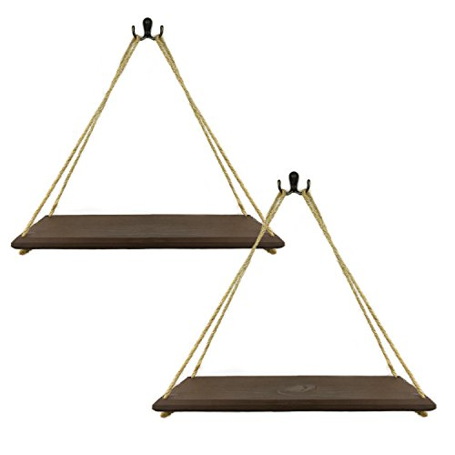 CasillasCo 17-Inch Rustic Rope Shelves, Hanging Wood Shelf With Hardware - Dark Walnut, Set of 2 Dark Wood Shelves