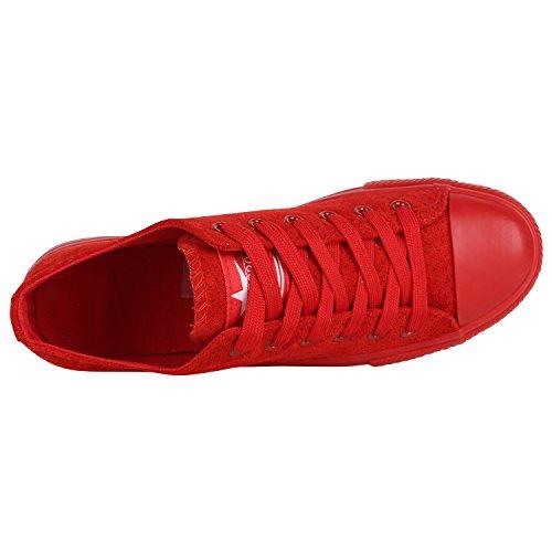 4df3fa665fb1 ... Stiefelparadies Damen Sneaker Low Metallic Turnschuhe Glitzer Freizeit  Schuhe Schnürschuhe Flats Sportschuhe Schnürer Flandell Rot Velours