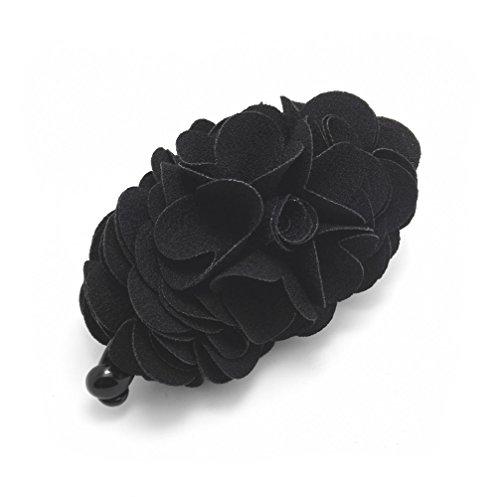 Meilliwish Flowers Rose Hair Clip Ponytail Holder(H41)(Black)