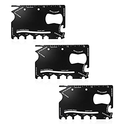 OMAYKEY 3-pack 18 in 1 Multi-purpose Credit Card Pocket Tool, Thick Stainless Steel Mini Wallet Camping Outdoor Survival Tools from OMAYKEY