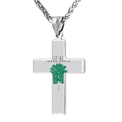 - Simple Small Zinc Alloy Religious Cross Necklace For Men Women,Print Basic Birch