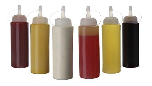 (Pack de 6) Botellas de Plastico Grandes 250 ml con Tapas de Rosca – Dispensadores Rellenables para Ketchup Mostaza Vinagre Salsas Aceite– Set de Botes Transparentes Sin BPA a Granel Para Cocina