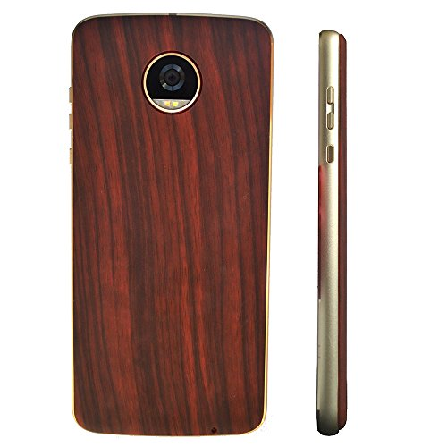 Dngn for Moto Style Shell Magnetic Adsorption Back Plate Mods Moto Z Z2 Z3 Play Force Driod Battery Door Cover Case Ultra Thin for Moto Z Series (red Wood Grain) (Droid Bionic Battery Cover)