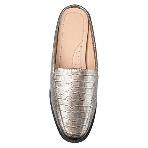 Brinley Co Womens Jem Faux Patent Square Toe Comfort-Sole Croc Pattern Slide Mules Pewter QB4VsAPi
