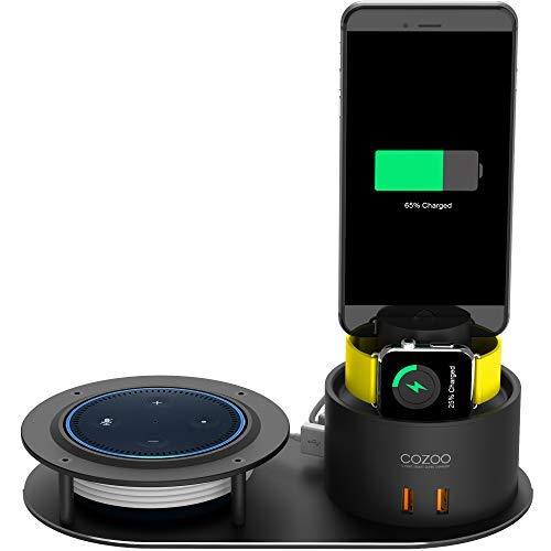 COZOO Echo Holder Smart Watch Charger Stand 5 Port USB Charging Station Phone Dock Mount Compatible Echo Dot 2nd Generation/Echo Plus/Apple Watch Series 3/2/1/AirPods/iPhone X/8/8 Plus/7/6 NightStand