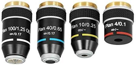 BoliOptics Infinity-Corrected Plan Achromatic Microscope Objective Lens Set 4X 10X 40X 100X with Black Finish BM04043031 Oil Spring