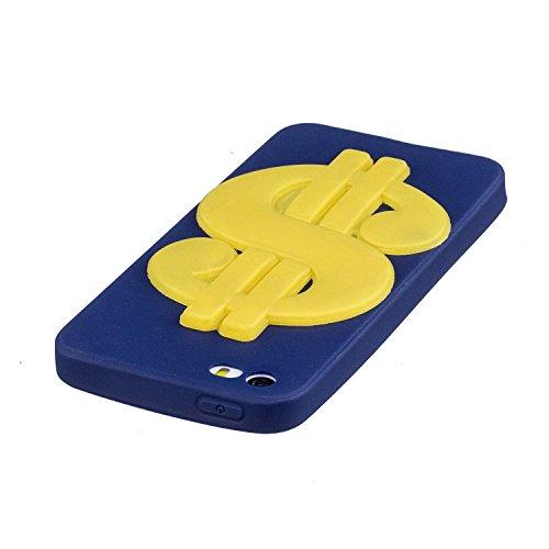 iPhone 5 5S SE Hülle , Leiai 3D Geld Leicht TPU Weich Tasche Schutzhülle Silikon Etui Handyhülle Stoßdämpfende Schale Fall Case Shell für Apple iPhone 5 5S SE