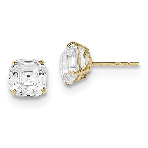 Lex & Lu 14k Yellow Gold Polished 7x7 Asscher Cut CZ Studs Post Earrings-Prime (Stud Asscher)
