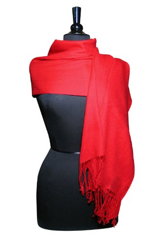 100% Pashmina Red Shawl Wrap. Woman's Scarf.