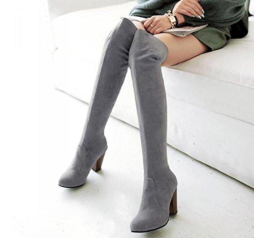Beauqueen Suede sobre la rodilla Botas altas Ronda-Toe Chunky alto talón Partido Caliente invierno Femenino Botas Gris Azul Rojo Negro Personalizado Europa Tamaño 34-43 Grey