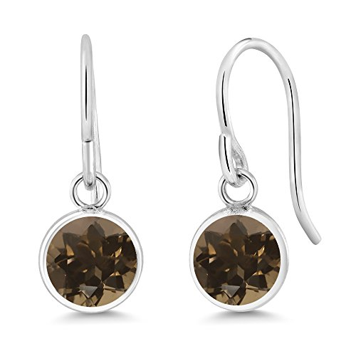 1.60 Ct Round Brown Smoky Quartz Sterling Silver bezel Earrings 6mm (Silver Quartz Box Smoky Jewelry)