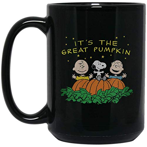 Peanuts Halloween It's the Great Pumpkin Men's Black 15Oz. Black Mug Coffee Mug/Tea Cup for Office Kitchen Nice Best Funny Present for Halloween. -