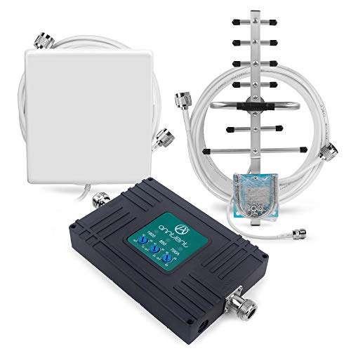Cell Phone Signal Booster for AT&T T-Mobile GSM 3G 4G LTE - Boost Cellular Voice and Data Signal in Home by Tri-Band 700ATT/850/1900MHz Band 2/5/12/17 Repeater kit and High Gain ()