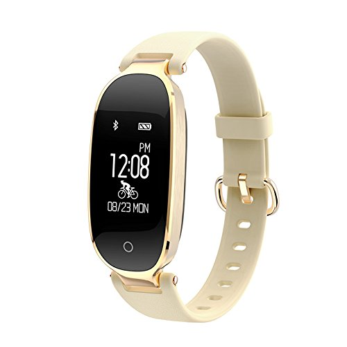 Price comparison product image Smart Fitness Tracker Watch, Yimiky Smart Bracelet Waterproof Bluetooth Heart Rate Monitor Fitness Tracker for iPhone,  Android, Galaxy Note,  Nexus,  HTC,  Sony, Men, Women, Child-Gold