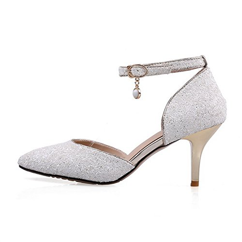 AmoonyFashion Womens Buckle Spikes Stilettos Sequins Solid Pointed Closed Toe Pumps Shoes White bA30b7L