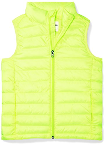 Amazon Essentials Boys' Lightweight Water-Resistant Packable Puffer Vest, Neon Yellow, Large