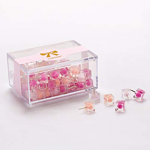 Clip Holder & Clip Dispenser | 80pcs Colorful Transparent Push Pins Clear Plastic Mini Thumb Tacks in Reusable Acrylic Box for Office Home Boards Decoration | by ()