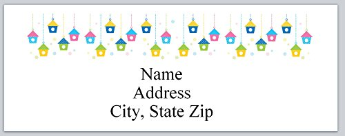 (120 Personalized Address labels Primitive Country Row of birdhouses (P 505))