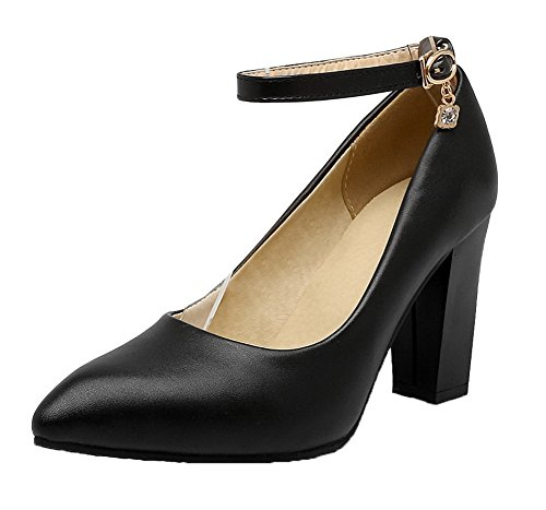 Amoonyfashion Chiuso Delle Fibbia Pu Alto scarpe Punta Donne Pompe Ha tacco Nero Solide EwAggaqX